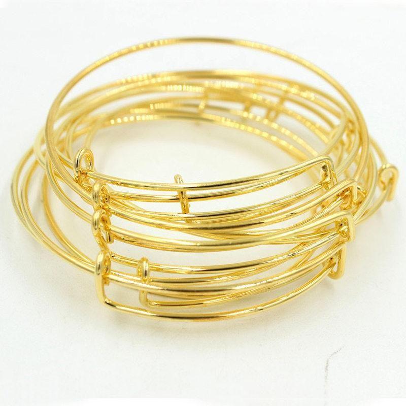 Gold Silver Wire Band Adjust Metal Diy Bangle Cuff Jewelry