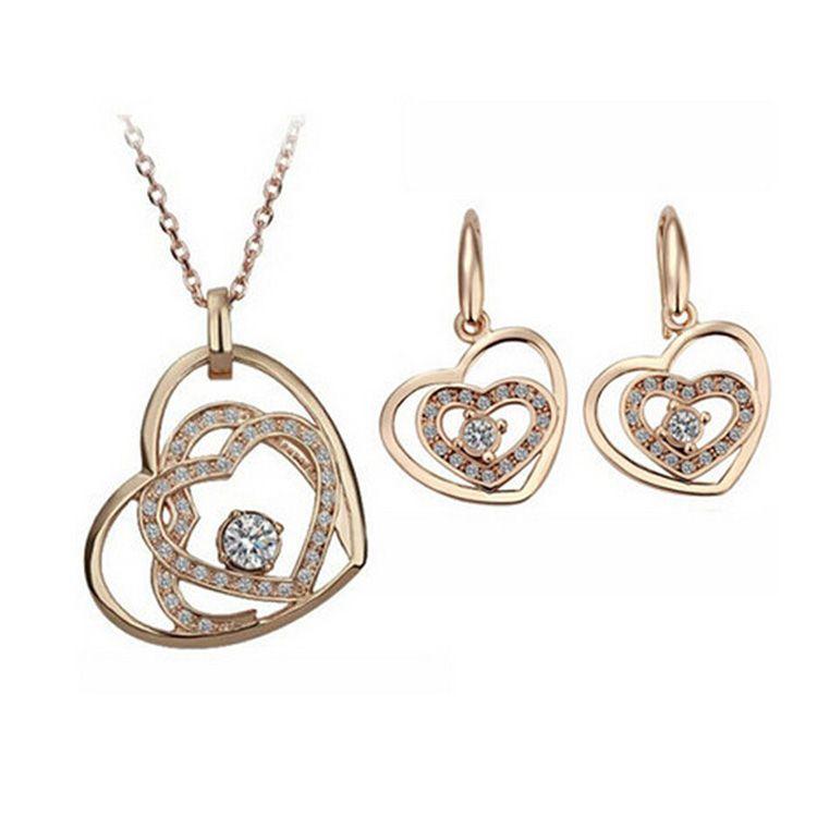 Fashion Heart Zircon Necklace Earrings Sets Double Heart Jewelry Sets Heart dream lady Necklace Set 8028
