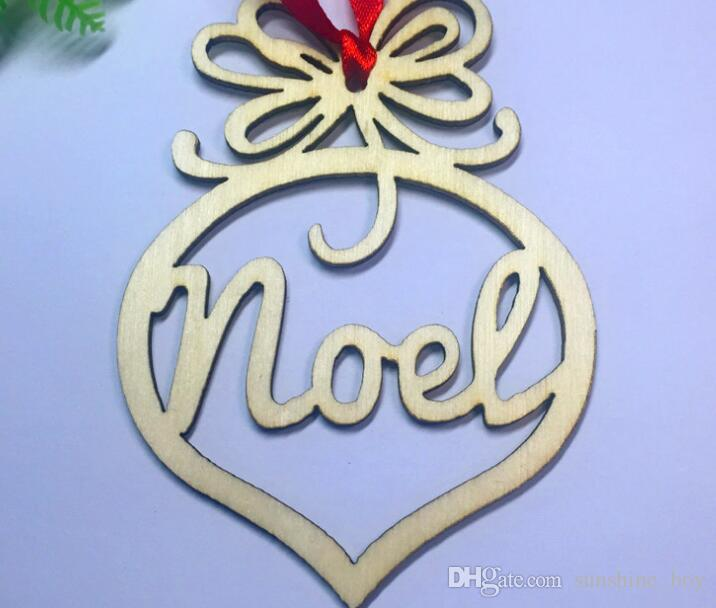 2018 hot sales Christmas letter wood Heart Bubble pattern Ornament Christmas Tree Decorations Home Festival Ornaments Hanging Gift