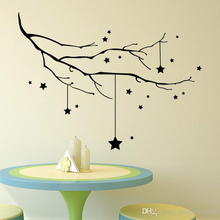 Home Decor Black STAR AND TREE BRANCH WALL DECAL STICKER Christmas Wall Art Murals for Living Room Bedroom Window or store Window Poster