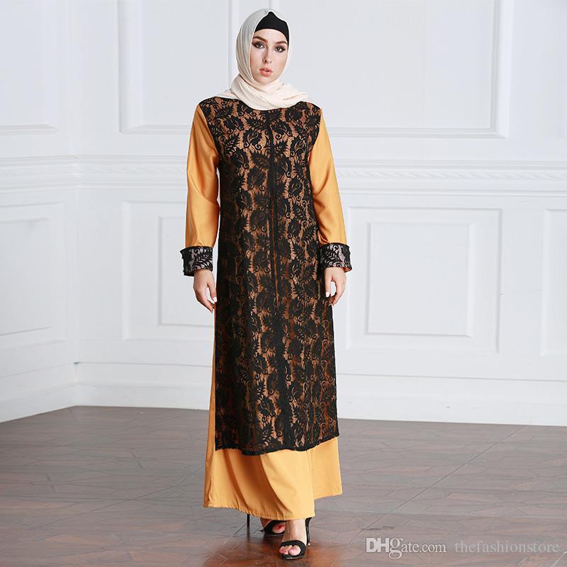 25c596a284 2019 Muslim Women Long Sleeved Kaftan Dress M 6XL Plus Size Islamic Fake  Lace Abaya Dress From Thefashionstore