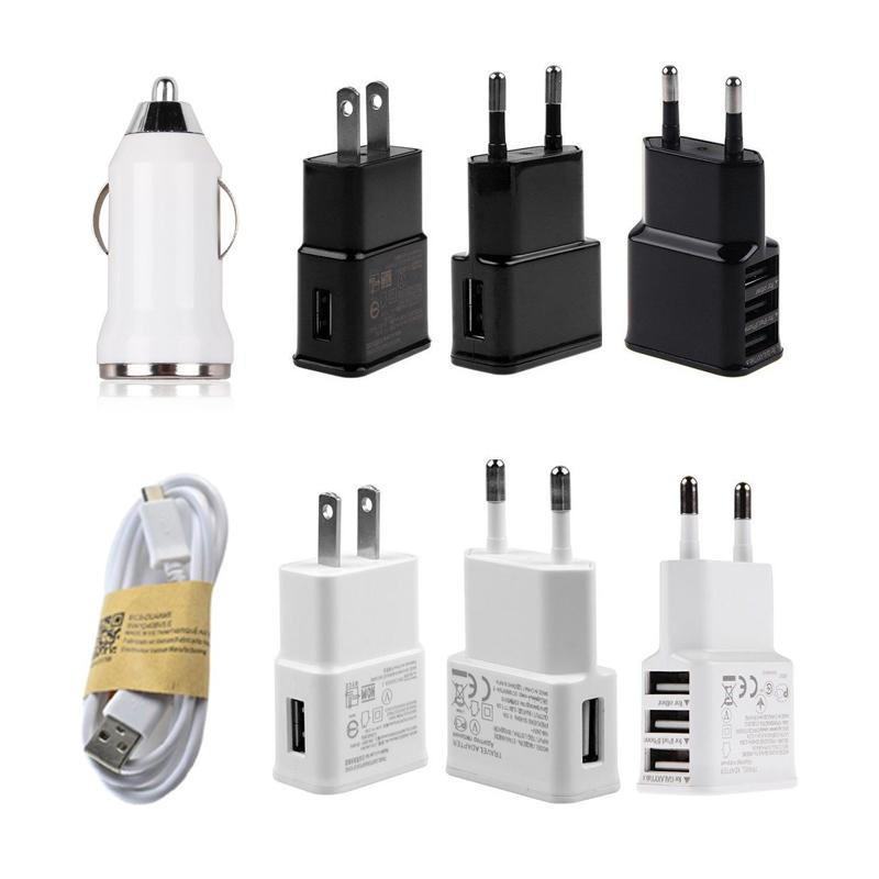For Samsung Galaxy S3 S4 S6 Note 2 USB Charger Cable Wall Adapter EU US Plug 2A Car Adaptive Charger
