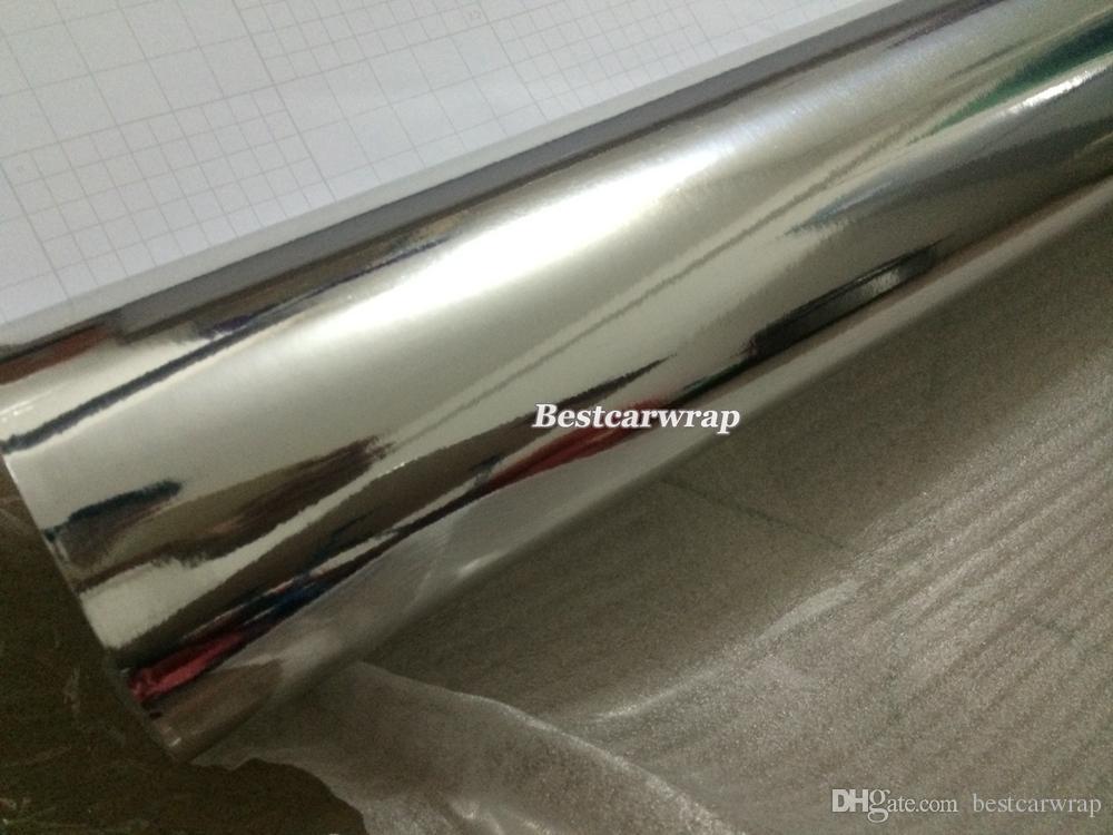 伸縮性のあるフレキシブルシルバークロムラップビニールラップクロームミラーフィルムカーラップエアフリーバブルサイズ:1.52 * 20m /ロール(5ft x 65ft)