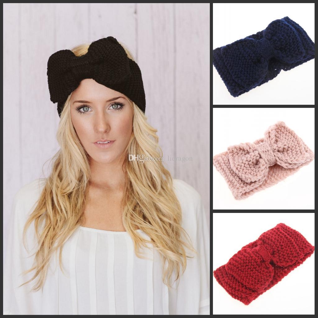 Großhandel Frauen&Amp;#039;S Fashion Wolle Häkeln Bogen Stirnband ...