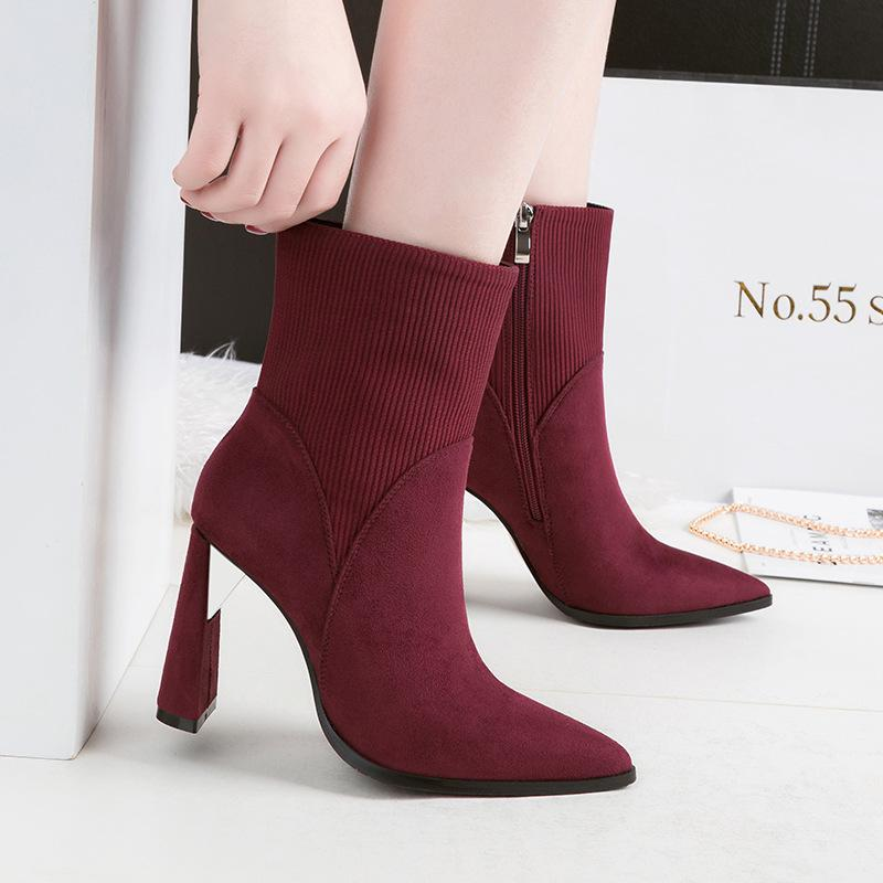 5fcfd7b5c18 Fashion Lady Short Boot Pumps Dress Shoes Women High Heels Suede Festival  Party Wedding Shoes Heels Formal Pumps Ankle Boots GWS289 Boots No 7 Bootie  From ...