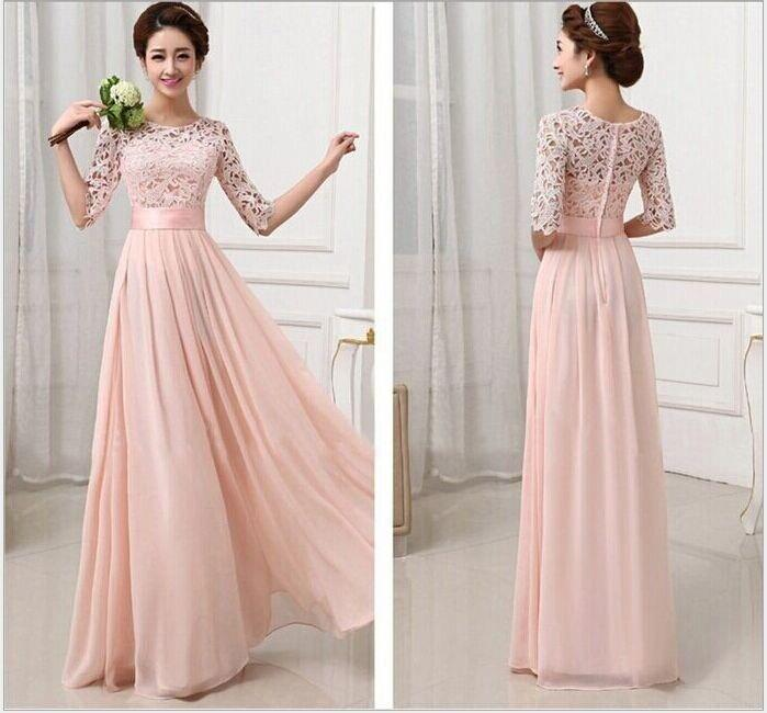 Simple But Elegant Formal A Line O Neck See Through Beaded Back Long