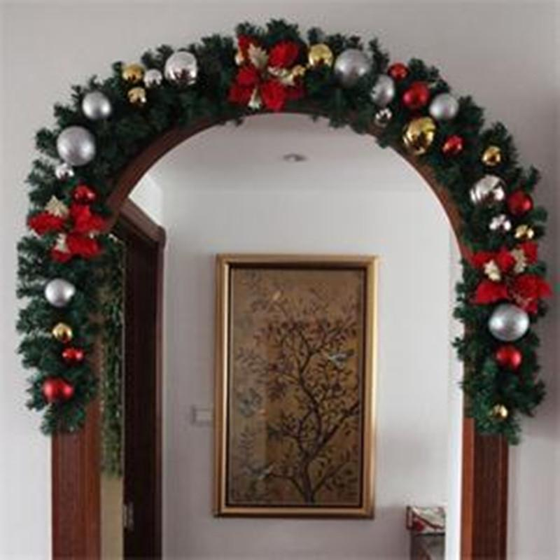 luxury thick mantel fireplace christmas garland pine tree indoor christmas decoration 27m x 25cm high quality party decoration home xmas decorations house - Garland Christmas Decor