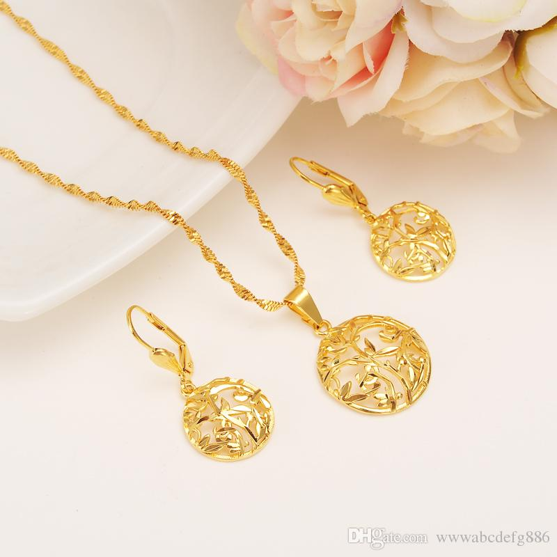 14 k Yellow Solid Fine Gold Filled Semi-circle Earrings Pendant Necklace Fashion Dubai Multilayer Flower Grass Jewelry Set