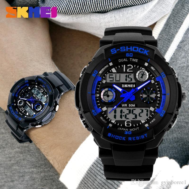 Reloj Hombre Montres Hommes Sport Led chiffres Montre LED Montres de plongée Montres-bracelets militaires Relogio Masculino New 2015 Skmei Vente chaude 0931