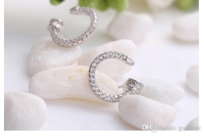 925 스털링 실버 스터드 귀걸이 패션 주얼리 문자 C 전체 지르콘 다이아몬드 크리스탈 간단한 깜박임 귀걸이 여자 100scs