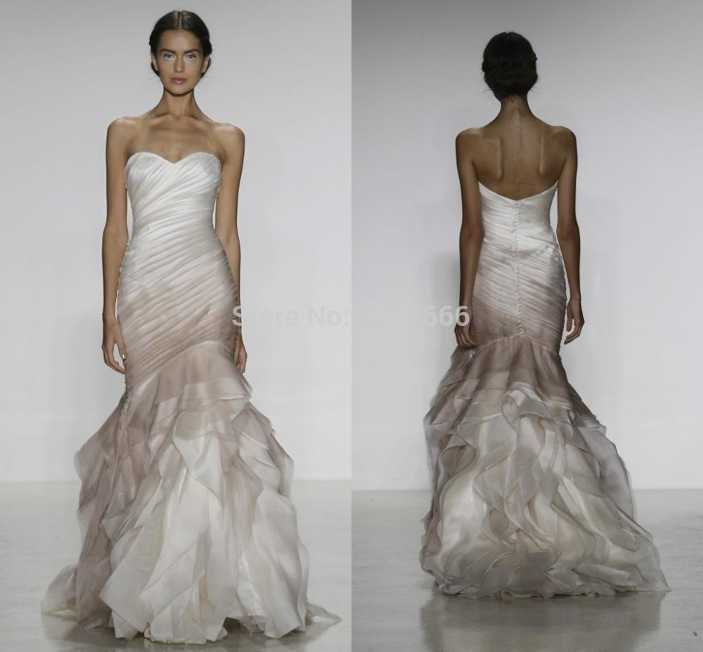 Inspired 2014 Fall Wedding Dress Organza Fit To Flare Raw Edge ...
