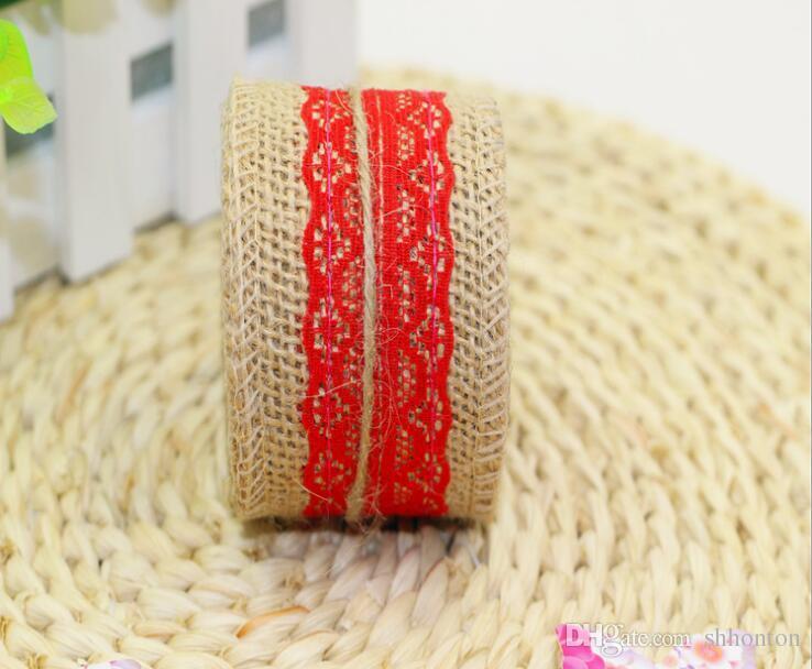 2Meter/Pcs Width 5cm Jute Burlap Rolls Hessian Ribbon With Lace Vintage Rustic Wedding Decoration DIY Ornament Burlap Wedding Favor WQ24