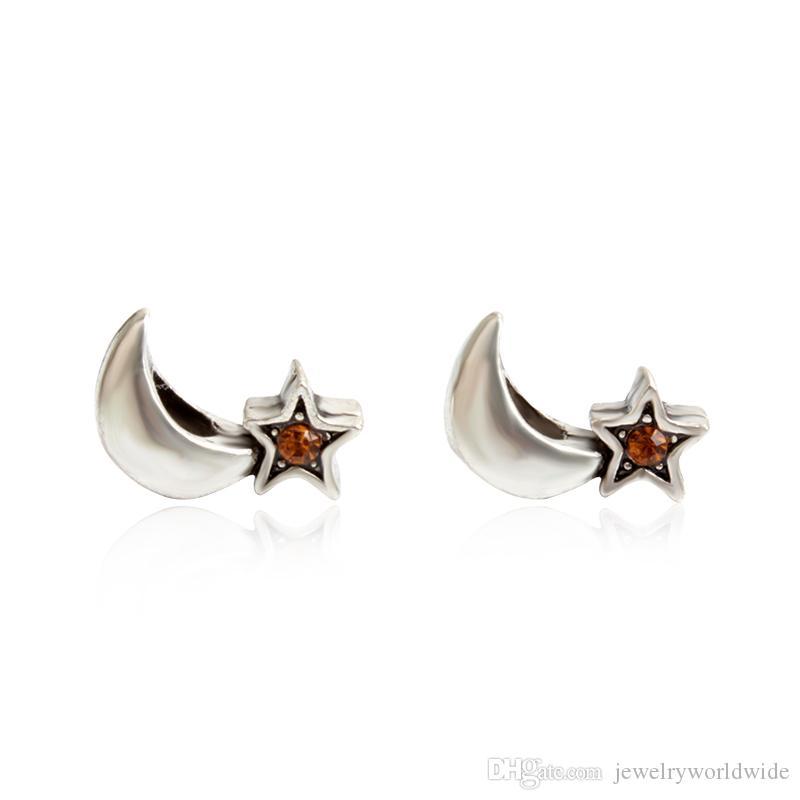 Estrela Na Noite de Cristal Charme Talão Moda Feminina Jóias Impressionante Design Estilo Europeu Para Pandora Pulseira