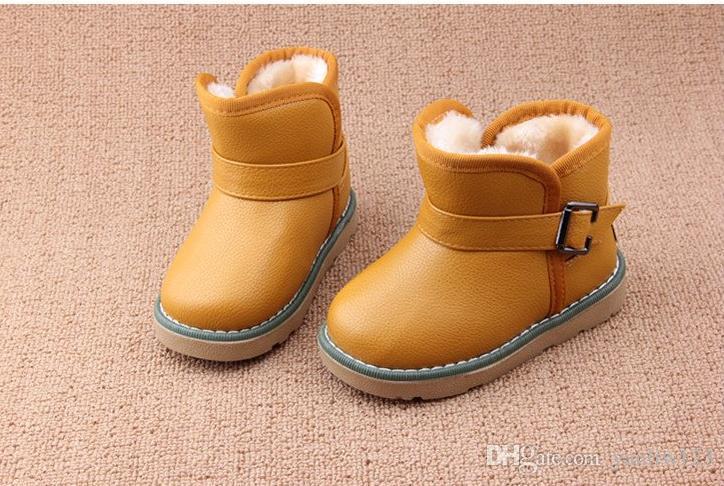 designer fashion 06869 94b23 Mädchen Stiefel Marke Designer Baby Kleinkind Little Kids Snow Boots Junge  Mädchen Leder Stiefel Muskel Winter Kinder Schuhe EU21 - 30