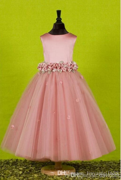 Joyas de flores hechas a mano hermosas Vestidos de niña de flores para bodas con un exquisito marco Flowergirl Niña pequeña Vestimenta Vestidos de cumpleaños Arco