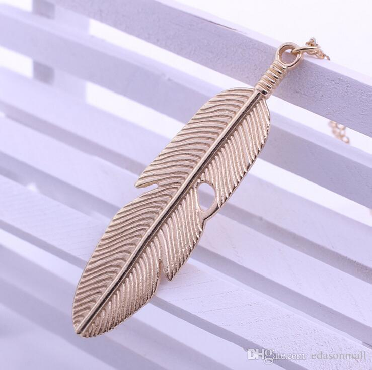 Simple Style Metal Leaf Feather Design Pendant Sweaters Long Necklace Long Chain Vintage Charm Jewelry Gift D295L