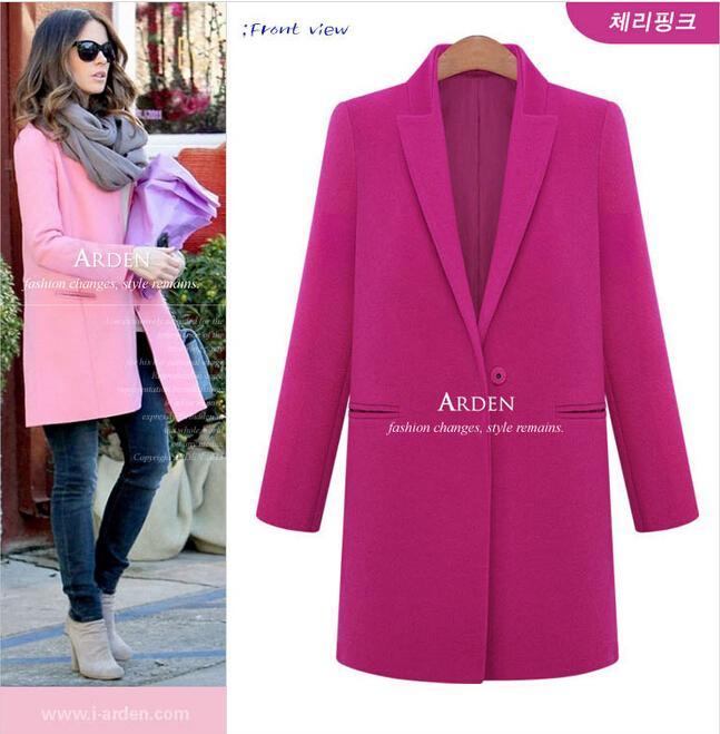 Women Winter Clothes 2015 New European Loose Long Black Fashion Coat Womens Cardigan Wool Coat Solid Single Button Winter Coats for Women