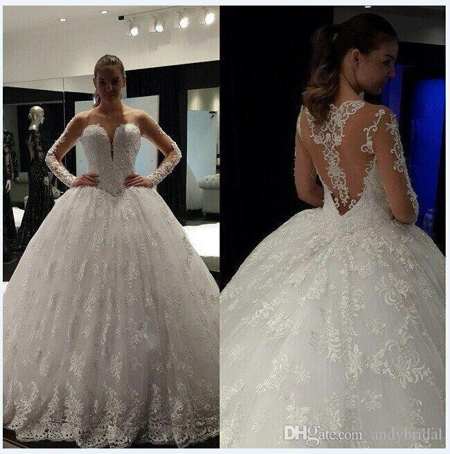 Sheer Ball Gown Wedding Dresses With Long Sleeves Illusion Neckline ...