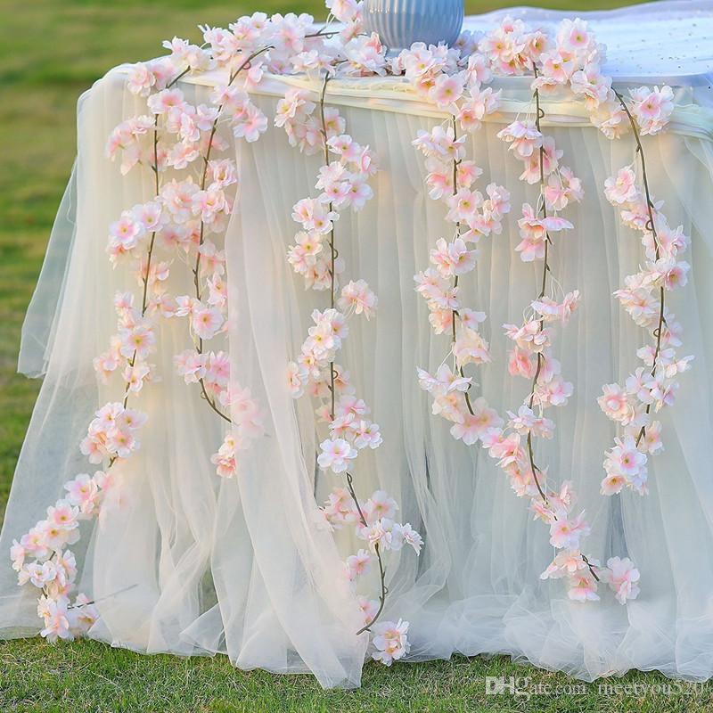 Grosshandel Kunstliche Blumen Hochzeit Kirschblute Hangen Vine Silk