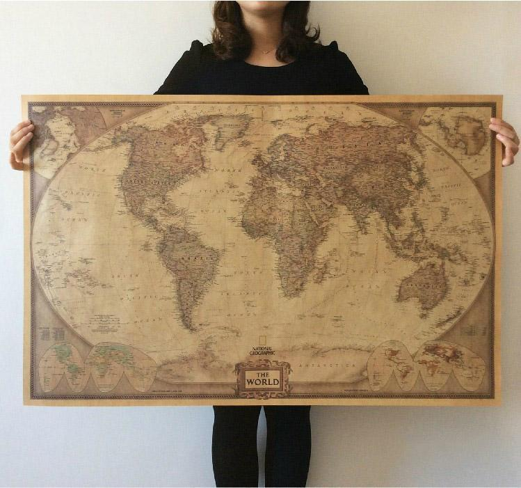 New Vintage Style World Map Wall Paper Archaize Exquisite - World map poster vintage style
