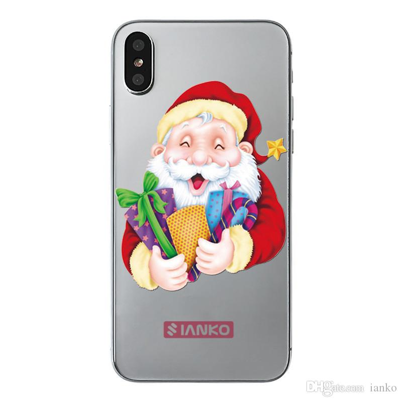 Santa Claus Phone Case for iPhone X Cover Soft TPU transparent Back Cover for iPhone8 7 6 Plus Merry Christmas Gift