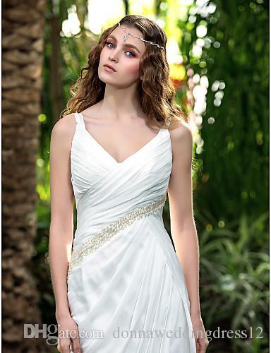 2016 New Fashion Popular Ivory Court Train V-neck Straps Backless Beading Chiffon Sheath Garden Wedding Dresses 169