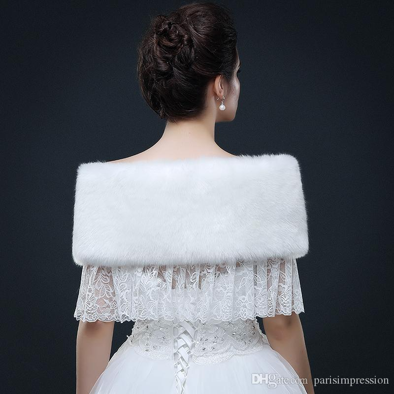Elegant Women White Full Faux Fur Bridal Wraps With Lace Real Image Winter Warm Shrug Sleeveless Wraps For Prom Party