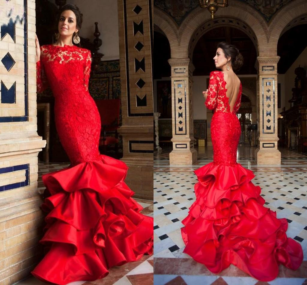 2018 Spring Red Mermaid Prom Dresses Lace Applique Sexy Backless Newest  Tiered Bateau Sweep Train Evening Party Gowns Custom Made BA0603 Prom  Dresses From ... 267f82726