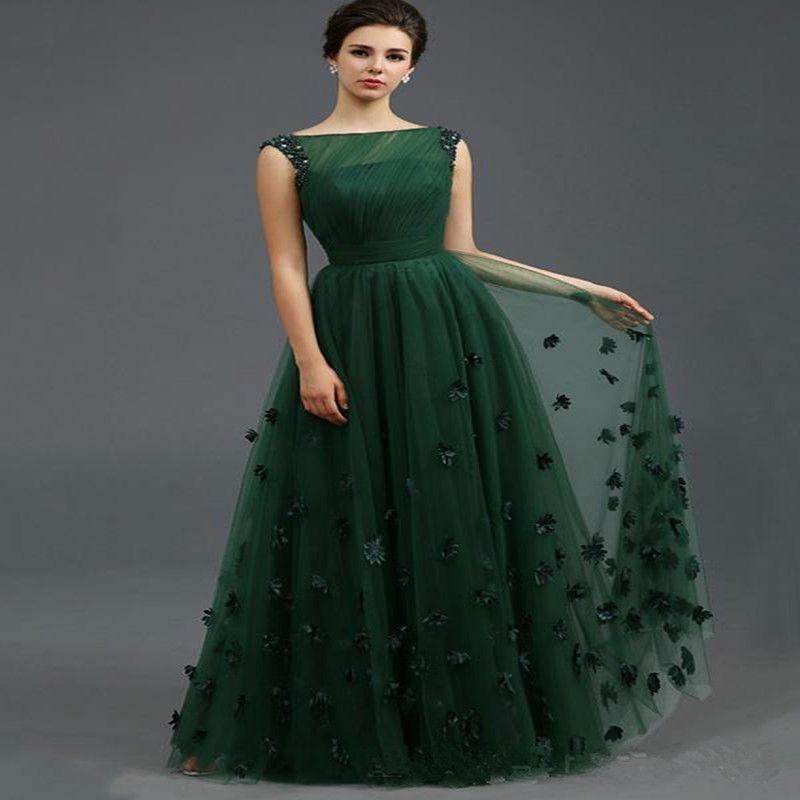 2016 Zuhair Murad Long Evening Dresses Emerald Green Tulle