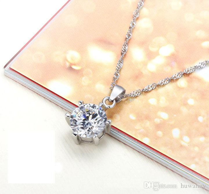 Silver Jewelry Sets New Fashion Hot Sale Crystal Earrings Pendants Necklaces Set for Women Girl Gift Wholesale 029LD