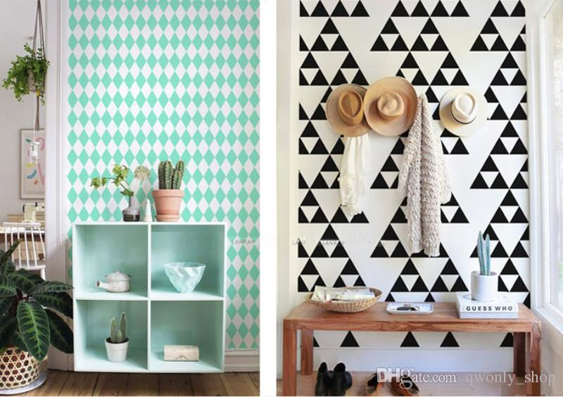 Gold Triangles Wall Sticker Removable Home Decor Art Wall Decals Small Baby Wallpapers Geometric Nordic Black Grey Triangle Wall Stickers