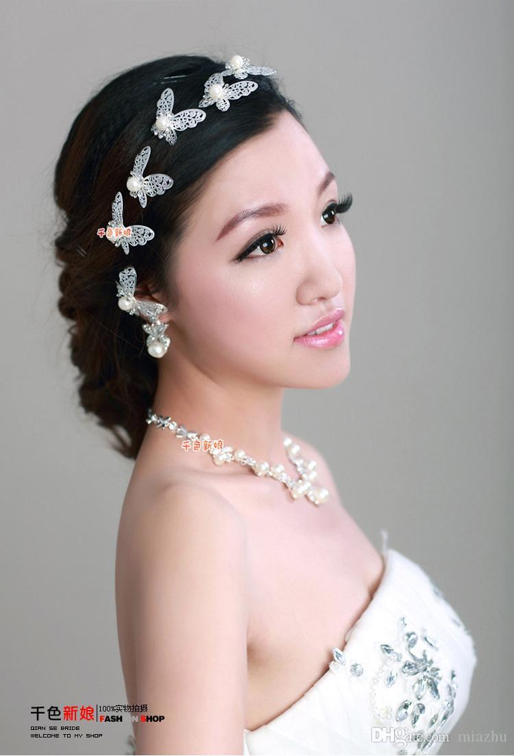 Kryształowy Rhinestone Sztuczne Pearl Motyl Kwiat Włosów Pin Klipy Spinacze Kobiety Włosy Biżuteria Ślubna Srebrny