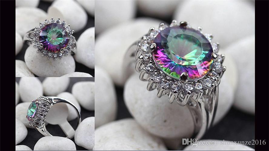 Das neue Angebot Noble Generous MN731 sz # 6 7 8 9 Promotion Rainbow Fire Mystic Zirkonia Favorit Kupfer rhodiniert für Frauen Ringe