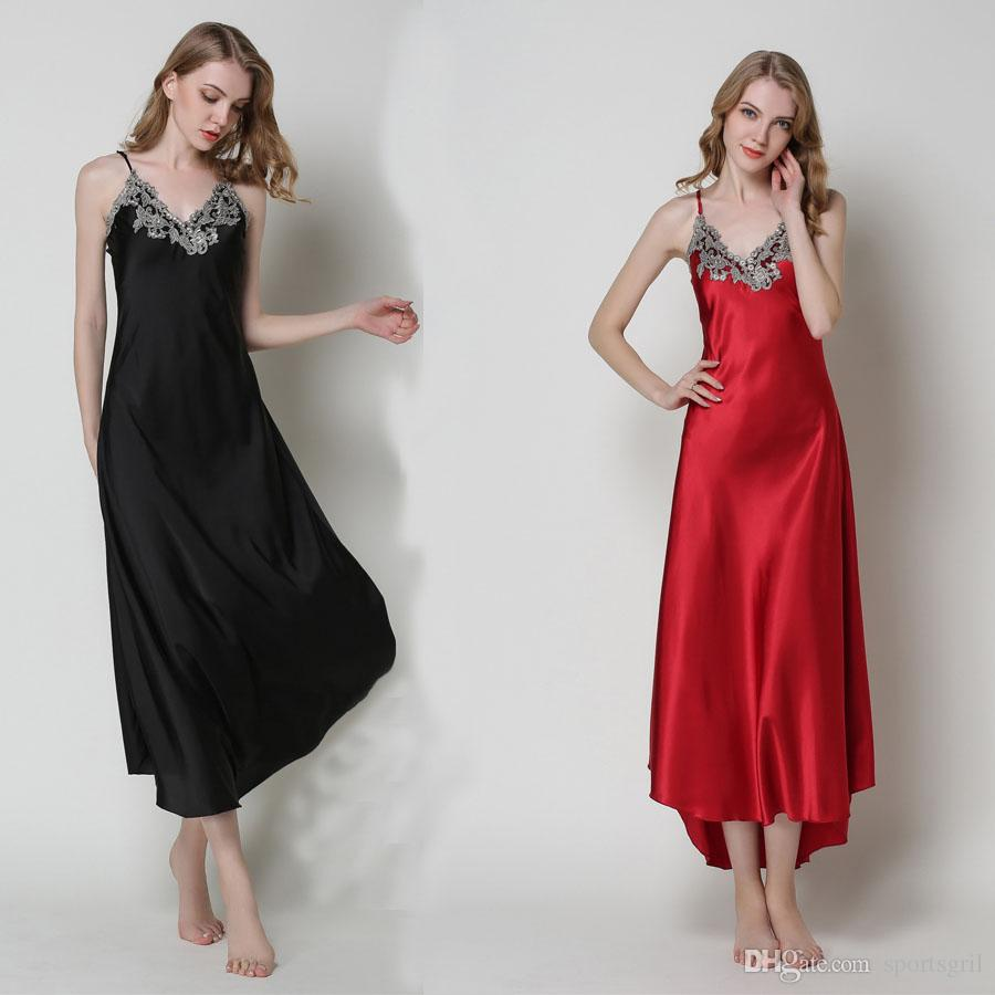 3855d2054b 2019 Women Sexy Silk Slip Nightgown Ladies Lace Sling Sleepshirts Long  Silky Robe Suspender Sleepwear Linggerie Peignoir Dressing Gown Nightwear  From ...