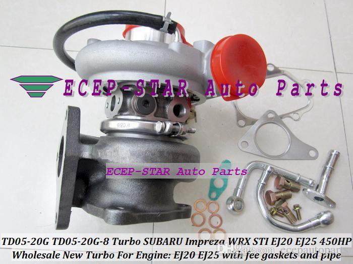 TD05-20G TD05 20G 8 TD05-20G-8 Turbo Turbocharger Turbine For SUBARU Impreza WRX STI EJ20 EJ25 2.0L MAX 450HP with gaskets and pipe fitting