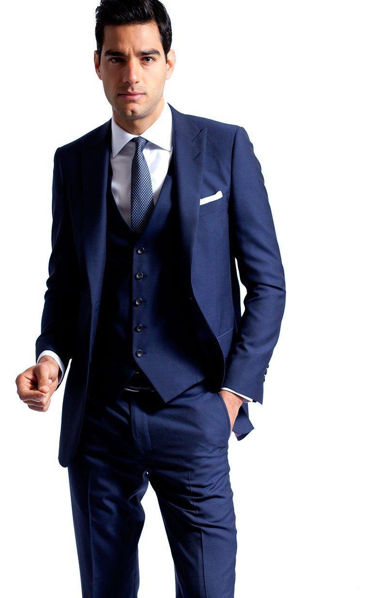 Side Vent Navy Blue Groom Tuxedos Peaked Lapel Slim Fit ...