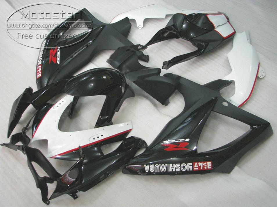 Jogo de carenagem ABS para SUZUKI GSX-R750 GSX-R600 2008 2009 2010 K8 K9 carenagens preto branco GSXR 600 750 08-10 TA17