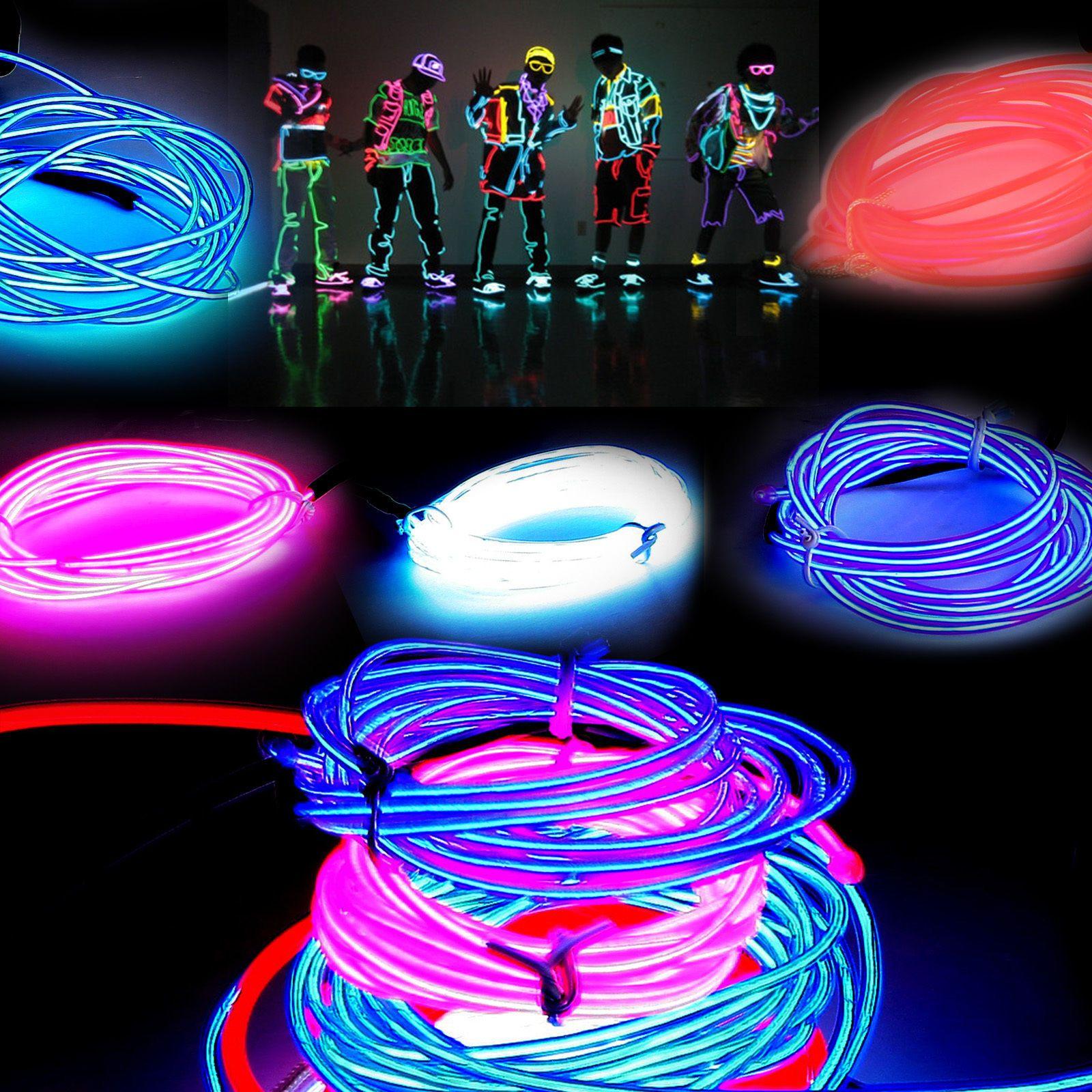 3M Flexible Neon Light Glow EL tubo de cuerda de alambre Flexible Neon Light es Car Dance Party Costume + Controller Navidad Holiday Light