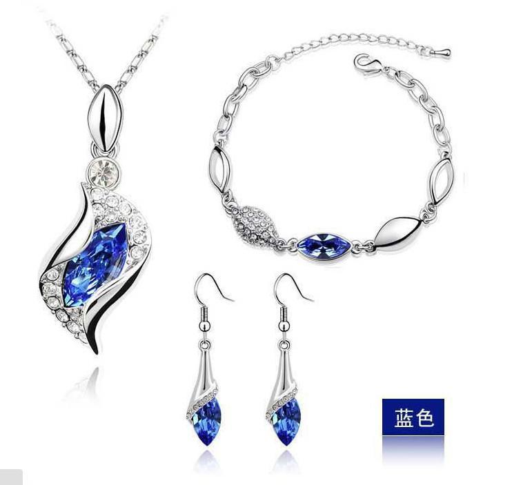 Royal Blue Luxury Rhinestone Bridal Jewelry Sets Wedding