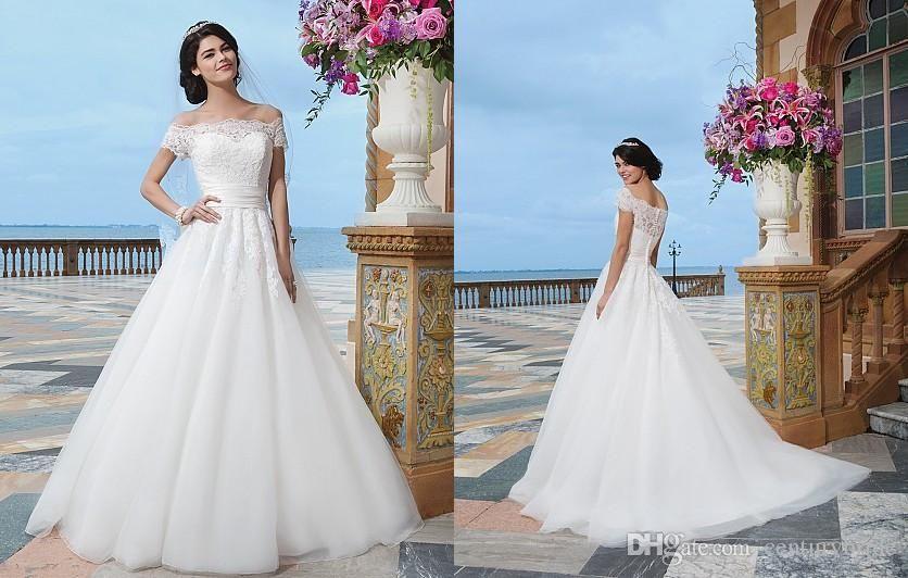 Discount 2016 Bateau Short Sleeve Wedding Dresses Sweep Train A
