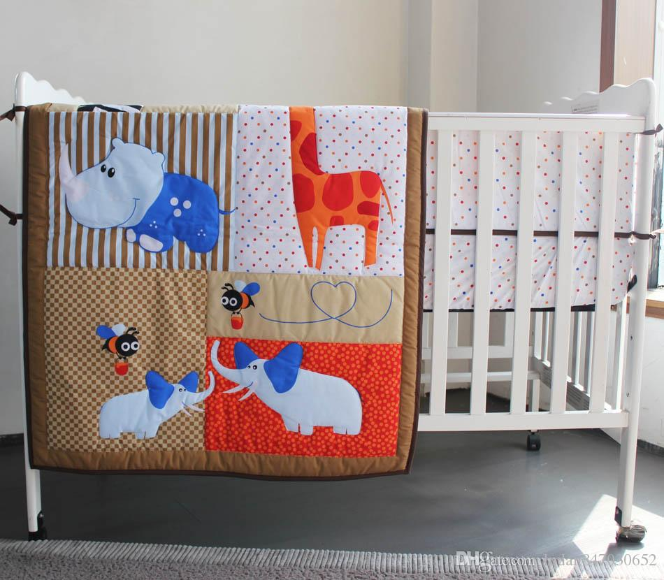 3D stereo embroidery giraffe hippo elephants bees Bumper Fitted Sheet Baby Bedding