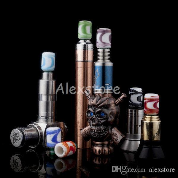 6 стилей Pyrex стекло смолы 510 эго капельное советы с коротким широким отверстием капельного совет мундштук красочные driptip для РБА RDA атомайзер Vape мод