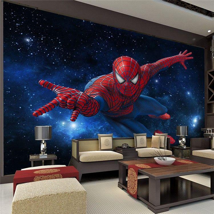 3d estéreo Continental TV fondo papel tapiz sala de estar dormitorio mural cubierta de la pared no tejida Star Spiderman Mural Kids room