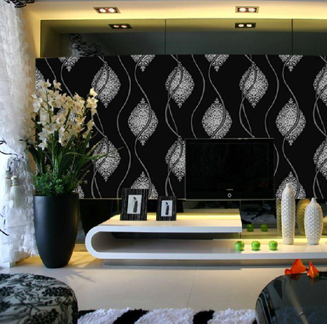 Black White Glitter Wall Paper Roll,Metallic Silver Black Abstract Wallpaper  Modern Living Room Background Wall Wallpaper Free Wallpaper Download Free  ...