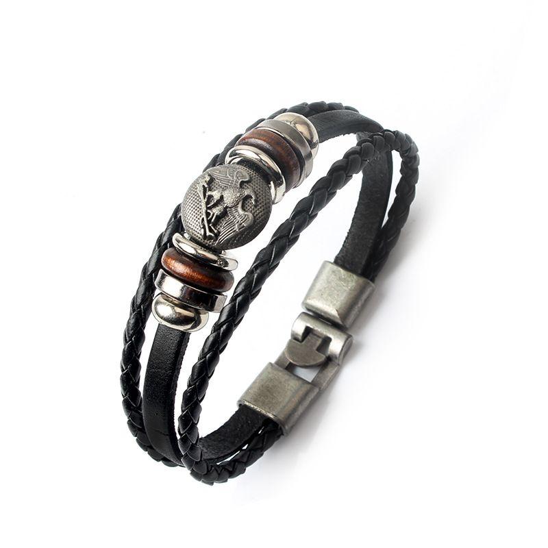 Wholesale Fashion Jewelry anchor Alloy Leather Bracelet Men Casual personality PU Woven Beaded Bracelet Vintage Punk Bracelet Women