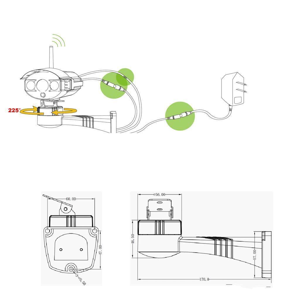 DHL бесплатная доставка Электрический Вращающийся Кронштейн Держатель Установки Стенд для CCTV Безопасности Ip-камера 225 градусов Камеры видеонаблюдения Аксессуары s245