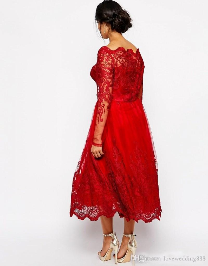 2018 Pretty Red Tea Length Mother Of The Bride Dresses With Sheer Long Sleeves Square Plus Size Moms Formal Evening Gown