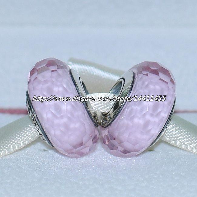 5ピース925スターリングシルバースレッドピンクの魅力的なムラノガラスビーズフィットPandoraヨーロッパのチャームブレスレットネックレスFA009