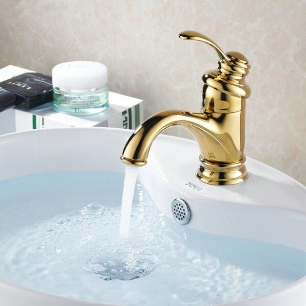 Grosshandel Bad Waschbecken Wasserhahn Messing Golden Bad Wasserhahn