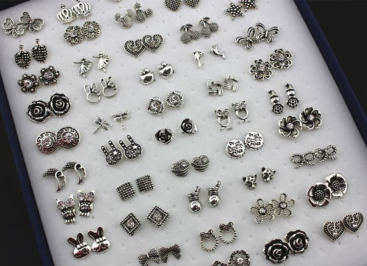 813c675ee Wholesale 50PAIRS Lovely Girl Women's Vintage Silver Animals/Flowers/Hello  Kitty Stud Earrings Wholesale Mixed Style ME125